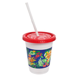 Solo Plastic Kids Cups with Lids/Straws, 12-oz., Jungle Print, Sold as 250 cups, 250 lids and 250 straws per case
