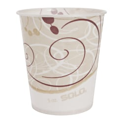 Solo® Waxed Paper Water Cups, 5 Oz, Symphony Design, 100 Cups Per Bag, Carton Of 30 Bags