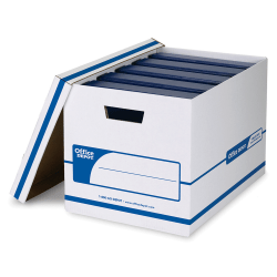 "Office Depot® Brand NBE Binder Standard-Duty Storage Boxes With Lift-Off Lids And Built-In Handles, 20 1/8"" x 13 1/8"" x 12 3/8"", 60% Recycled, White/Blue, Case Of 2"