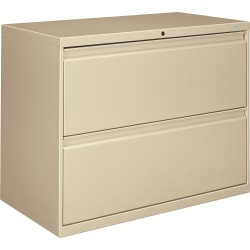 """HON® 800 36""""W Lateral 2-Drawer File Cabinet With Lock, Metal, Putty"""