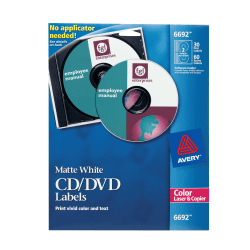 Avery® CD/DVD Labels, Permanent, 6692, Matte White, Pack Of 30