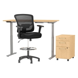 """Move 60 Series by Bush Business Furniture 60""""W Height Adjustable Standing Desk With Storage And Drafting Chair, Natural Maple, Standard Delivery"""