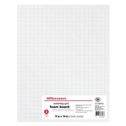 "Office Depot Brand Vanishing Grid Foam Board, 11"" x 14"", White, Pack Of 2"