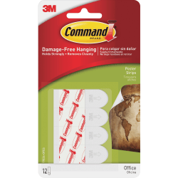 "Command™ Removable Adhesive Poster Strips, 1 3/4"", Clear, Pack Of 12"