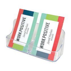 """Deflecto® 2-Compartment Vertical Business Card Holder, 5"""" x 2 1/5"""" x 1 1/2"""", Clear"""