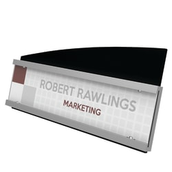 """Deflecto® Interior Image® Nameplate Sign Holder, 3 7/8""""H x 8 1/2""""W x 2 7/16""""D, Silver/Black"""
