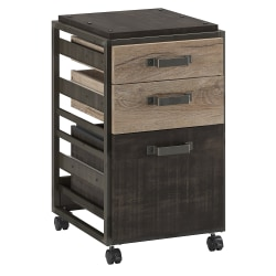 """Bush Business Furniture Refinery 18""""D Vertical 3-Drawer Mobile File Cabinet, Rustic Gray/Charred Wood, Standard Delivery"""