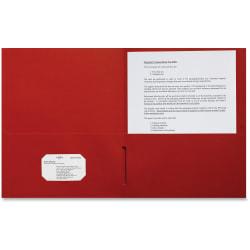 "Sparco Leatherette Portfolio, 8-1/2"" x 11"", 2 Pocket, Red, Box of 25"