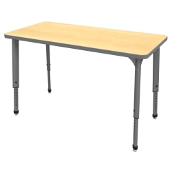 """Marco Group™ Apex™ Series Rectangle Adjustable Table, 30""""H x 48""""W x 24""""D, Maple/Gray"""