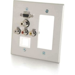 C2G VGA, 3.5mm Audio, Composite Video and RCA Stereo Audio Pass Through Double Gang Wall Plate with One Decorative Style Cutout and One Keystone - Brushed Aluminum - 2-gang - Brushed Aluminum - 1 x Mini-phone Port(s) - 2 x RCA Port(s) - 1 x VGA Port(s)