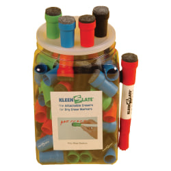KleenSlate® 50% Recycled Eraser Caps For Large Dry-Erase Markers, Assorted, Pack Of 100