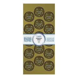 """Geographics Embossed Seals, 1-1/4"""", Gold/Silver Foil, Pack Of 45"""