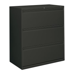 """HON® 800 36""""W Lateral 3-Drawer File Cabinet With Lock, Metal, Charcoal"""
