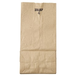 "General Supply Natural Paper Grocery Bags, #4, 30 Lb, 9 3/4"" x 5"" x 3 1/3"", Kraft, Case Of 500"