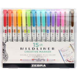 Zebra® Mildliner Double-Ended Highlighters, Chisel/Fine Point, White Barrels, Assorted Ink Colors, Pack Of 15 Highlighters