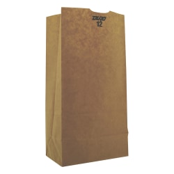 "General #12 Heavy-Duty Paper Grocery Bags, 50 lb, 4 1/2""H x 7 1/16""W x 13 3/4""D, Kraft, Pack Of 500 Bags"