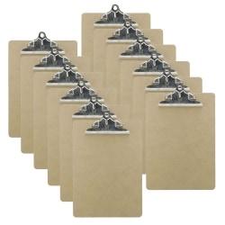 "Charles Leonard Masonite Clipboards, 8 1/2"" x 11"", Brown, Pack Of 12"