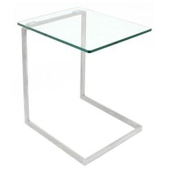 Lumisource Zenn Square End Table, Clear/Chrome