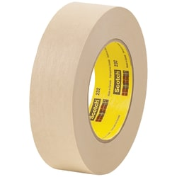 "3M™ 232 Masking Tape, 3"" Core, 1.5"" x 180', Tan, Case Of 12"