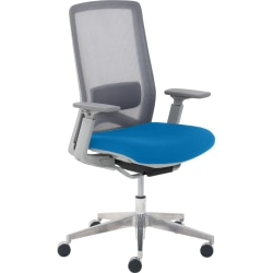 True Commercial Melbourne Mesh/Fabric Mid-Back Chair, Blue/Off-White