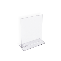 "Azar Displays Double-Foot Acrylic Sign Holders, 7"" x 5"", Clear, Pack Of 10"