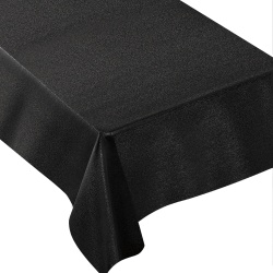 "Amscan Metallic Fabric Table Cover, 60"" x 104"", Black"