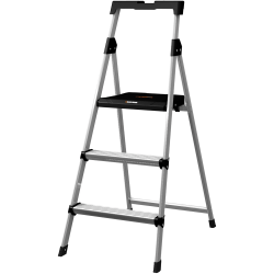 Louisville 3' Steel Step Stool with Slots - 3 Step - 225 lb Load Capacity - Aluminum