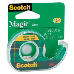 """Scotch® Magic™ Tape In Dispenser, 1/2"""" x 450"""", Clear"""