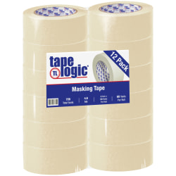 "Tape Logic® 2200 Masking Tape, 3"" Core, 2"" x 180', Natural, Case Of 12"