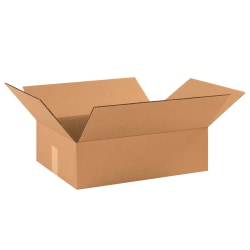 "Office Depot® Brand Corrugated Boxes, Flat, 3""H x 12""W x 17 1/2""D, Kraft, Pack Of 25"