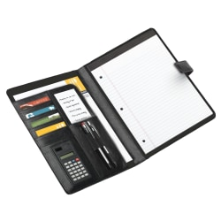 """Office Depot® Brand Padfolio With Magnetic Closure And Calculator, 11 1/10""""H x 10 1/2""""W x 1 3/10""""D, Black"""
