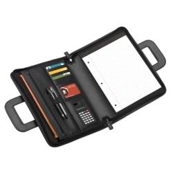 "Office Depot® Brand Padfolio With Flap Pockets & Sliding Handles, 11"" x 14"", Black"