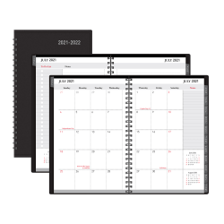 """Office Depot® Brand Weekly/Monthly Academic Planner, 5"""" x 8"""", 30% Recycled, Black, July 2021 to August 2022"""