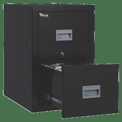 "FireKing® Patriot 25""D Vertical 2-Drawer File Cabinet, Metal, Black, White Glove Delivery"