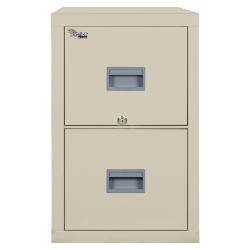 """FireKing® Patriot 31-5/8""""D Vertical 2-Drawer Letter-Size File Cabinet, Metal, Parchment, White Glove Delivery"""