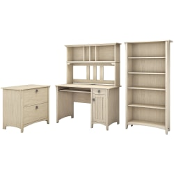 Bush Furniture Salinas Mission Desk With Hutch, Lateral File Cabinet And 5 Shelf Bookcase, Antique White, Standard Delivery