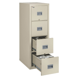 "FireKing® Patriot 17-3/4""D Vertical 4-Drawer File Cabinet, Metal, Parchment, White Glove Delivery"