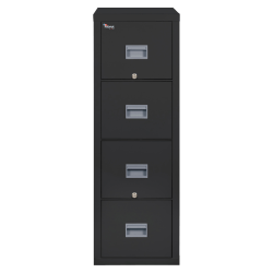 "FireKing® Patriot 31-5/8""D Vertical 4-Drawer File Cabinet, Metal, Black, White Glove Delivery"