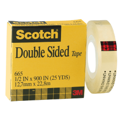 "Scotch® 665 Permanent Double-Sided Tape, 1/2"" x 900"", Clear"