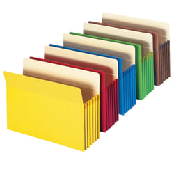 """Smead® Top-Tab Expanding File Pockets, Letter Size, 5 1/4"""" Expansion, Assorted Colors, Pack Of 5"""