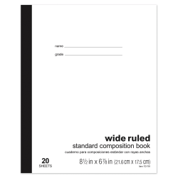 "Office Depot® Brand Standard Composition Book, 6 7/8"" x 8 1/2"", Wide Ruled, 20 Sheets"