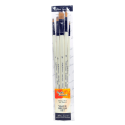 Robert Simmons Simply Simmons Long Handle Paint Brush Set, Assorted Sizes, Assorted Britsles, Synthetic, White, Set Of 5