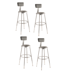 """National Public Seating Adjustable Vinyl-Padded Stools With Backs, 38 - 47 1/2""""H, Gray, Set Of 4"""