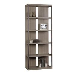 "Sauder International Lux 72"" 5 Shelf Contemporary Bookcase, Gray/Light Finish, Standard Delivery"