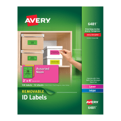 "Avery® Removable Laser/Inkjet Organization Labels, 6481, 2"" x 4"", Assorted Colors, Pack Of 120"