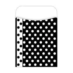 "Barker Creek Peel & Stick Library Pockets, 3 1/2"" x 5 1/8"", Black And White Dots, Pack Of 30"
