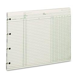 """Wilson Jones® Ledger Sheets, Ending Balance, 9 1/4"""" x 11 7/8"""", Green, Pack Of 100"""