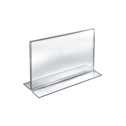 """Azar Displays Double-Foot Acrylic Sign Holders, 8 1/2"""" x 11"""", Clear, Pack Of 10"""