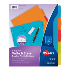 "Avery® Big Tab™ Write & Erase Durable Plastic Dividers, 8 1/2"" x 11"", Multicolor, 5-Tab"