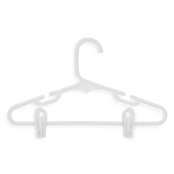 Honey-Can-Do Kids' Tubular Hangers With Clips, White, Pack Of 18